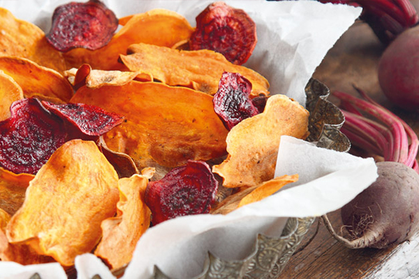 Baked Beet and Sweet Potato Chips with Guac | 1 Million Women